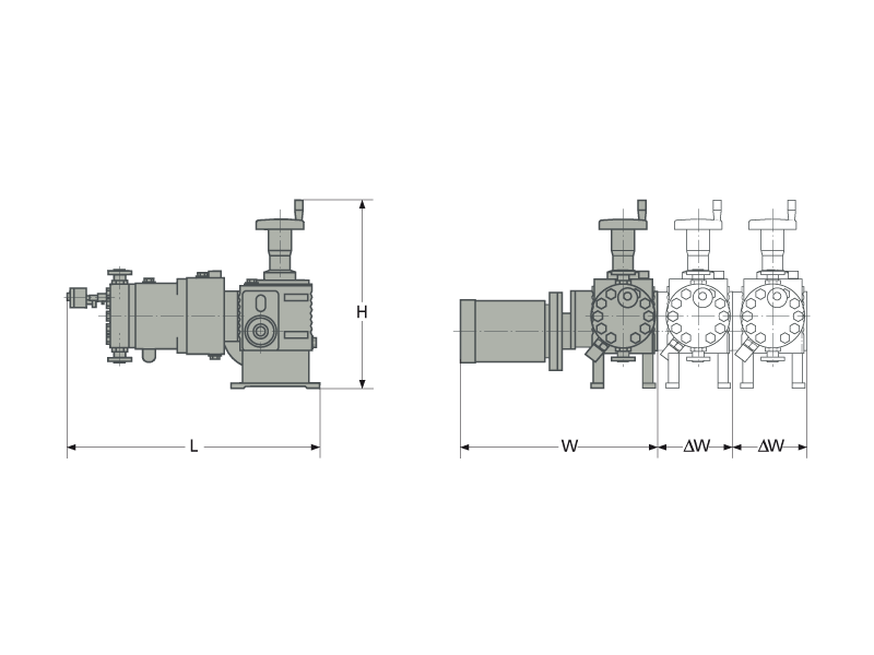 Assembly dimensions of LEWA ecoflow pump